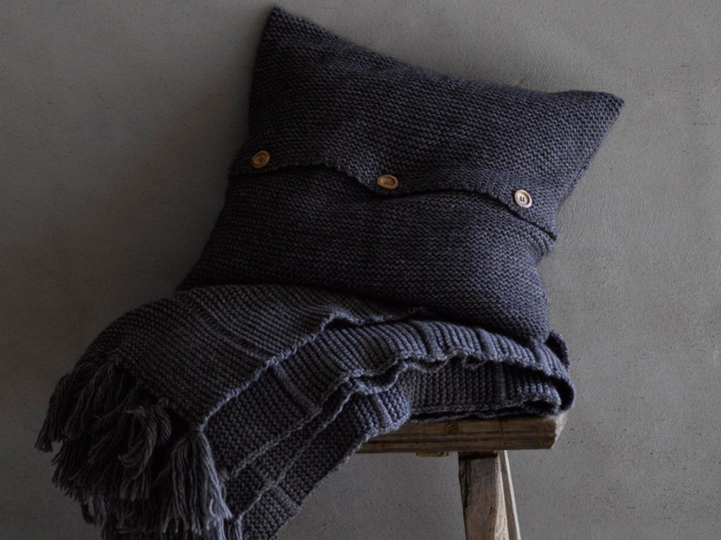 "Christy ""Agnes"" Throw and Cushion colour Charcoal"