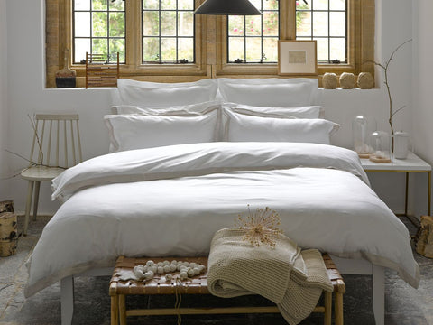 "Christy ""Mode"" Bed Linen - White with Oyster Trim"
