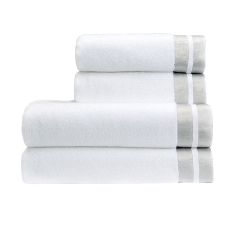 "Christy ""Mode"" Towel Collection in White with silver trim"