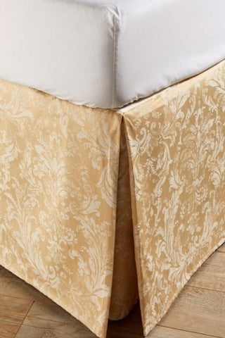 "Christy ""Jacquard Bed Skirt"" (Valance) - colour Rich Gold"