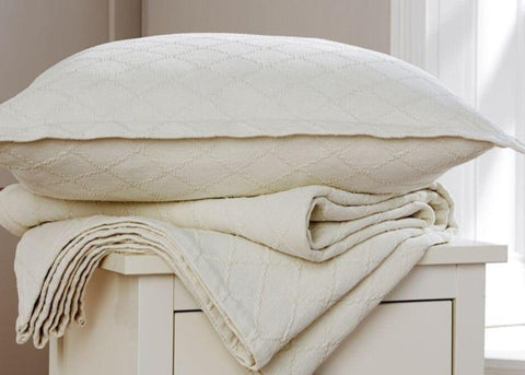 "Christy ""Paris"" Square Quilted Pillowshams in Cream"