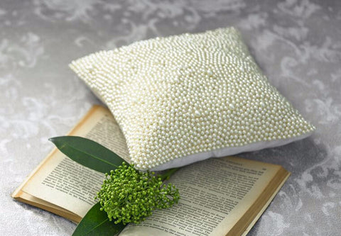 "Christy ""Venus"" Beaded Cushion in Cream"