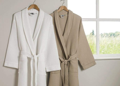 "Linen Obsession ""Spa Waffle"" Bath Robe in Taupe"