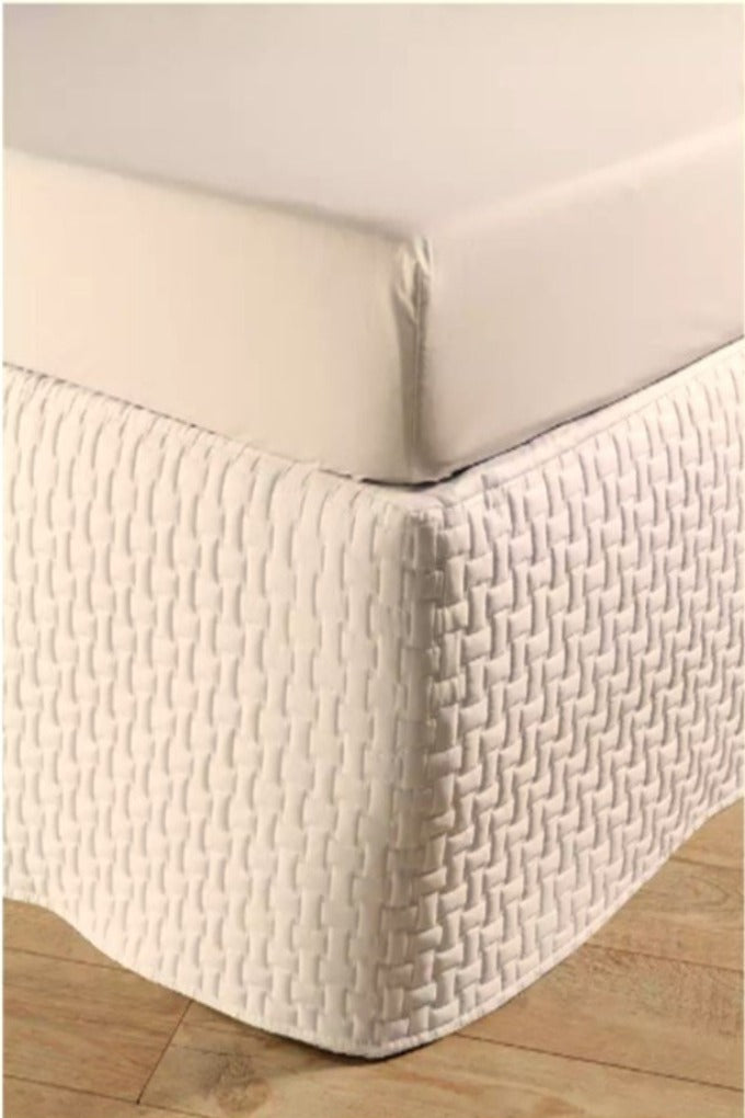 "Christy ""Windsor Quilted Bed Skirt"" (Valance) in Cream Colour"