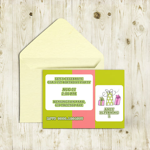 "5""x7"" Birthday Invitation BI-34"