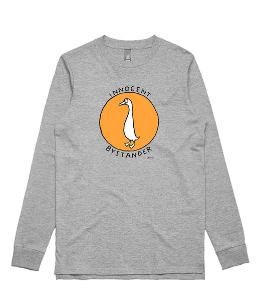 Innocent Bystander (orange) - grey long sleeve