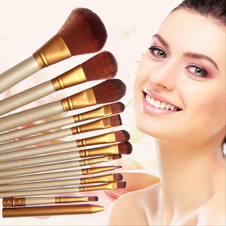 12 PCS Professional Wooden Cosmetics Makeup Brushes Set