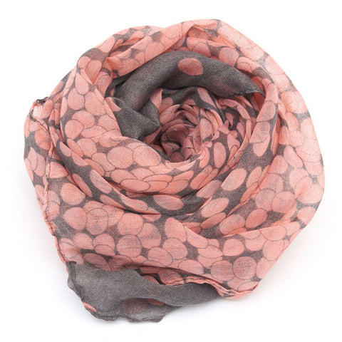 Large Scarf / Wrap Pink w/ Grey Dots
