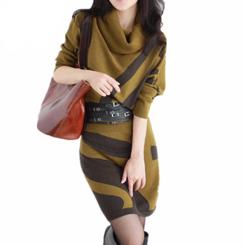 Knee Length Long Sleeve Knit Sweater Dress