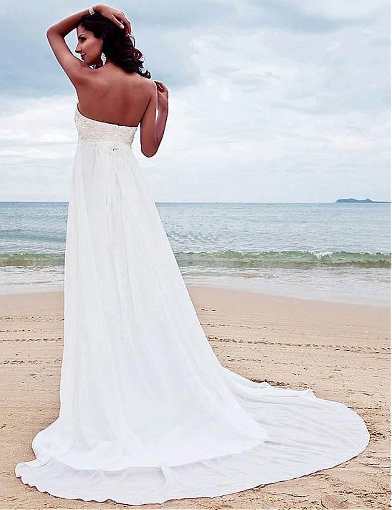 Chiffon Wedding Dresses w/ Sweep Train