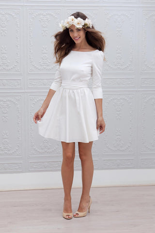 A-line Short Mini Dress w/ 3/4 Sleeves