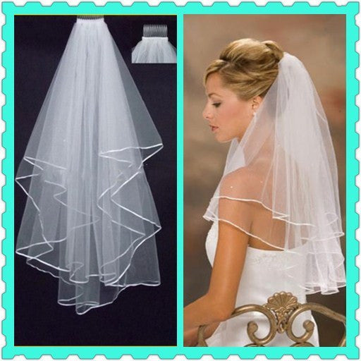 Wedding Veil With Ribbon Edge