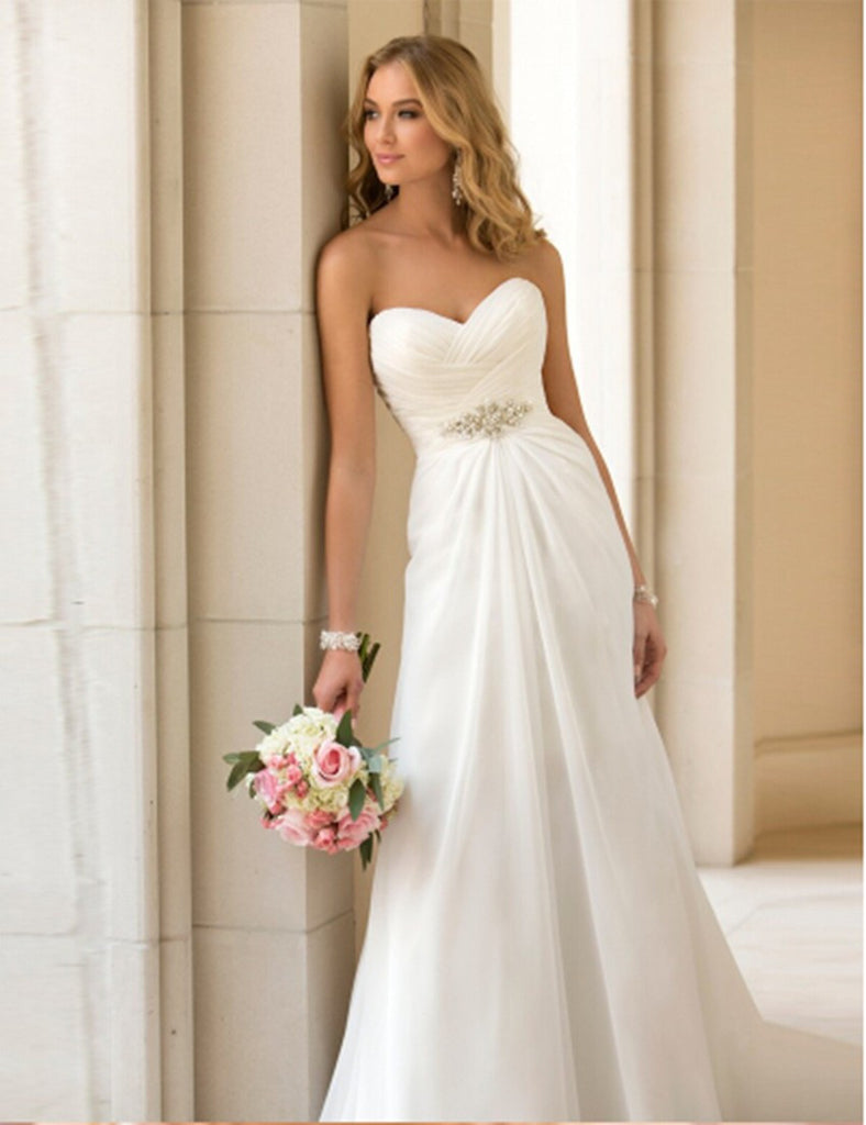 Elegant Wedding Dress w/ Chiffon and Satin