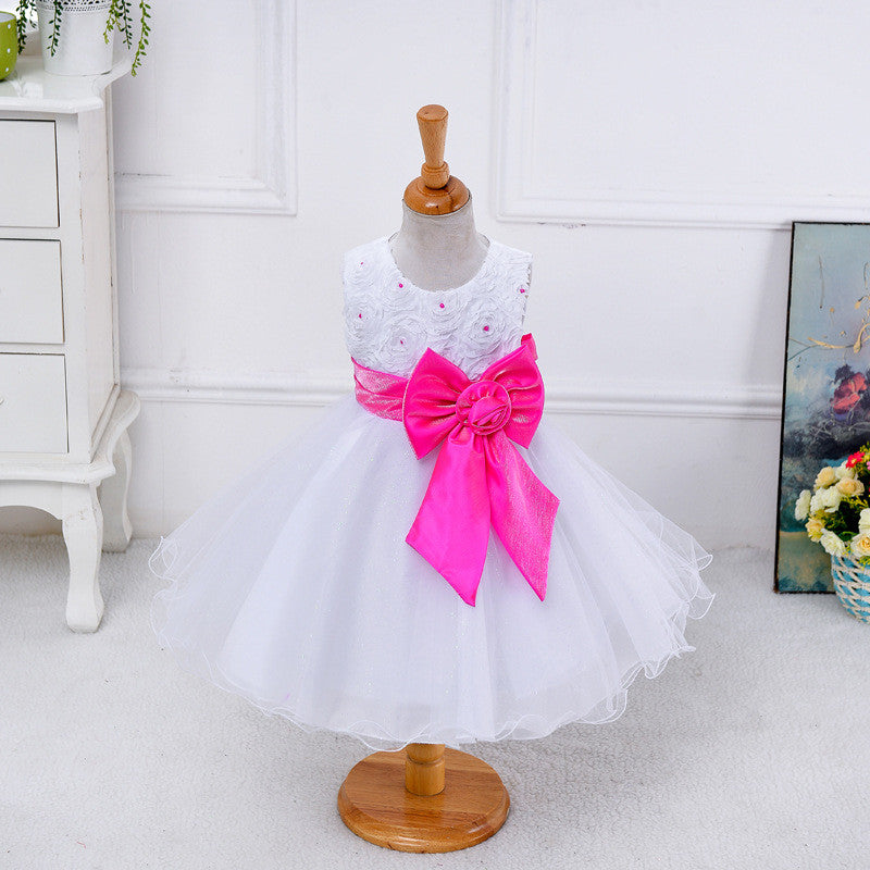 Flower Girl Dress Hot Pink Bow