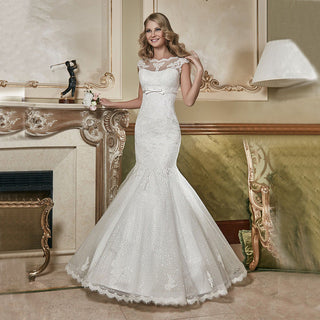 Bateau Cap Sleeve Wedding Dress