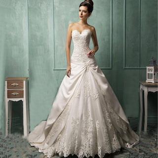 Empire White/ivory Court Train  Wedding Dress