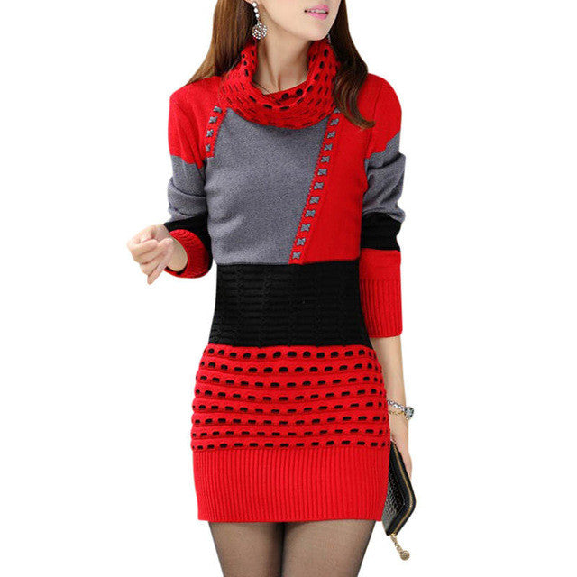 Turtleneck Long Sleeve Knitted Sweater Dress