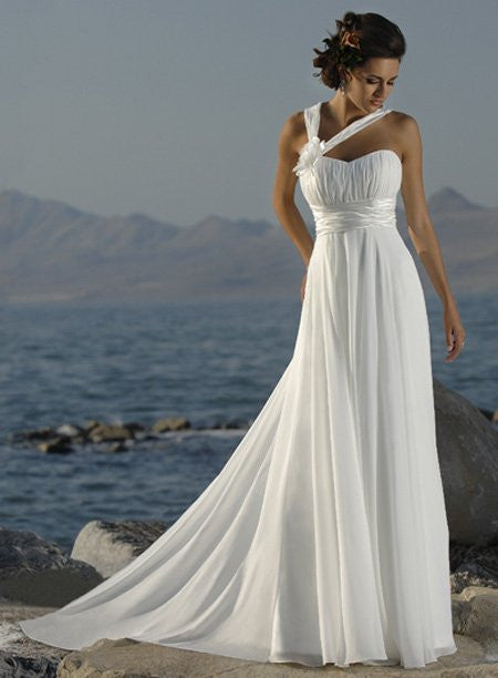 Halter Straps Handmade Flower Chiffon Wedding Dresses