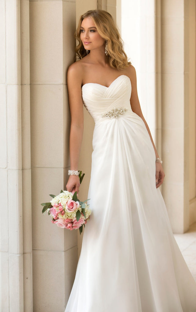 Ivory A Line Chiffon Wedding Dress