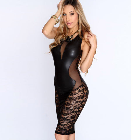 Faux Leather Lace Black Dress