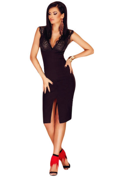Front Slit Black Dress