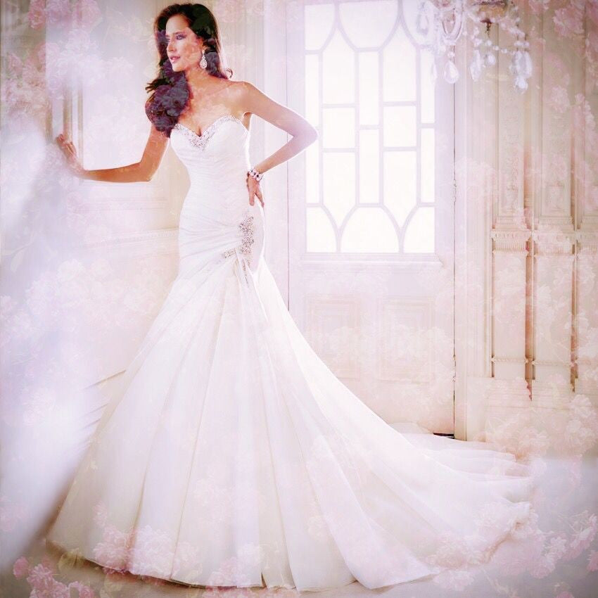 Mermaid Wedding Dress w/ Sweetheart Organza