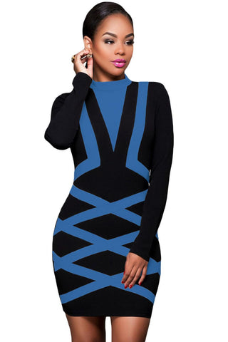 Blue Accent Long Sleeve Little Black Dress