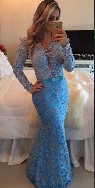 Long Sleeves Lace Mermaid Dress