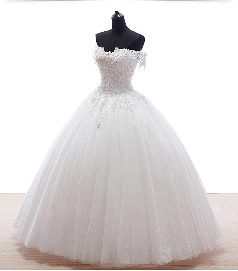 White Lace Princess Wedding Dress