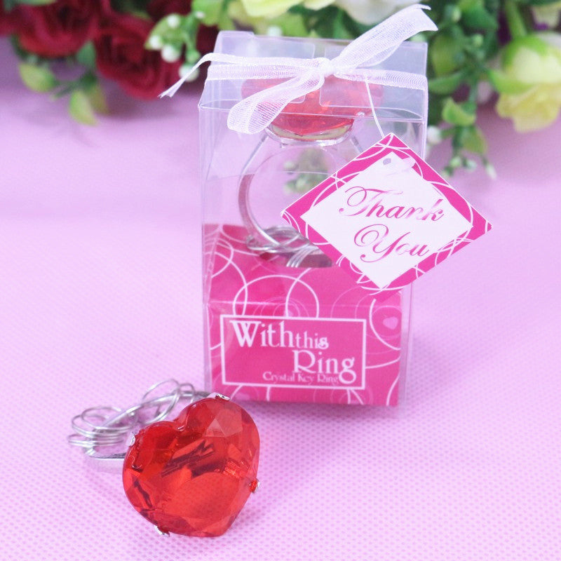 20Pcs Personalized Party Favor Heart Shaped Crystal Ring Keychain Wedding Favors And Gifts