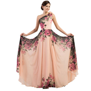 3 Designs Floral Print Evening Dress