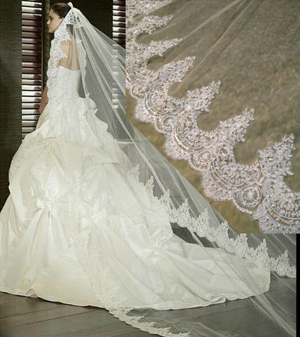 3 Meter White Ivory Cathedral Wedding Veil