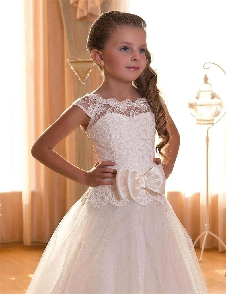 Cap Sleeve Lace White/Ivory Flower Girl Dress