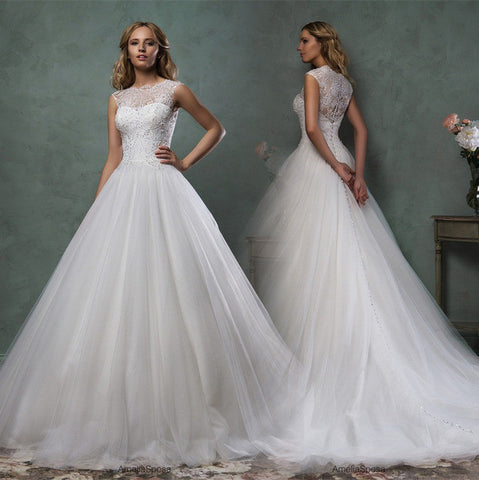 A-Line Wedding Dress w/ Sweep Train