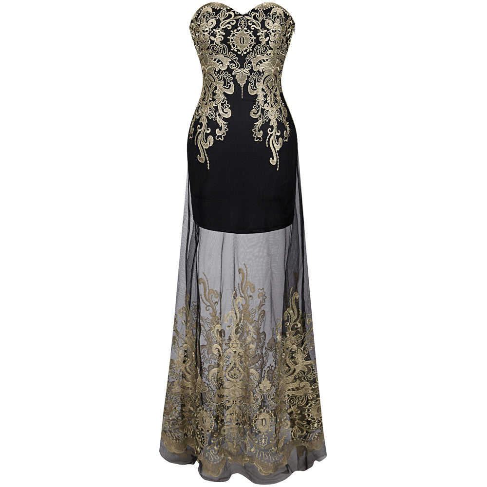 Embroidery See Through Lace Up Evening Dress