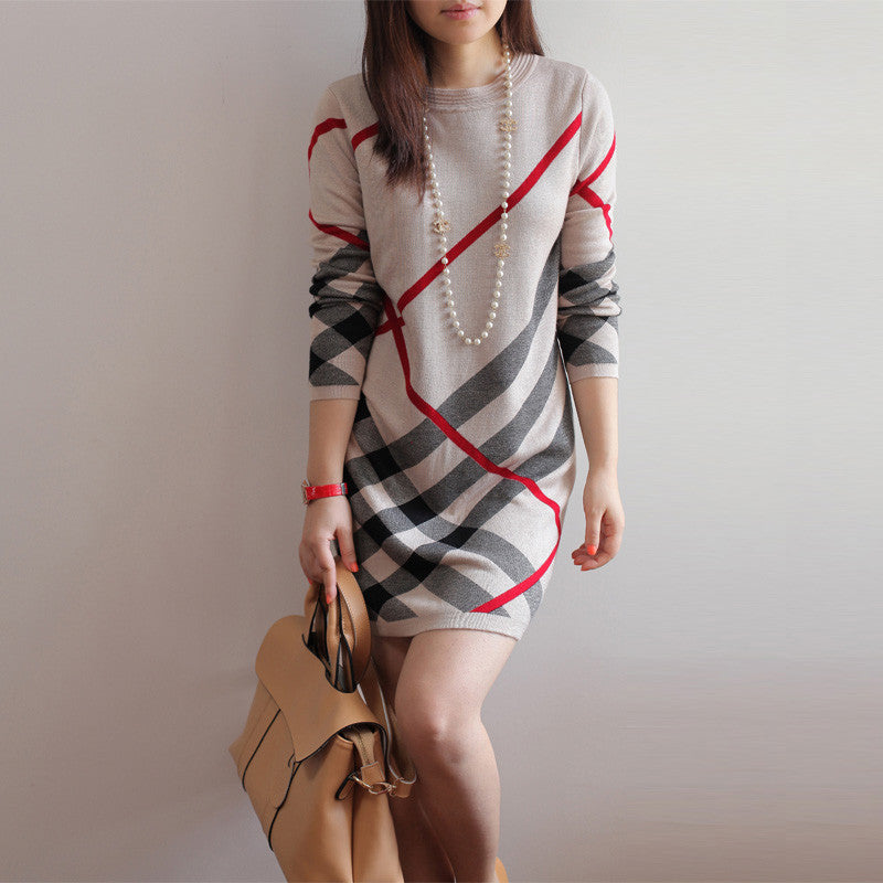 Cashmere Wool Knitted Long-Sleeve Stripe Sweater Dress