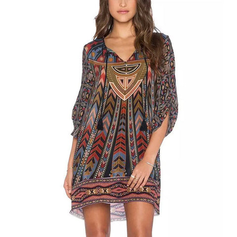 Colorful Geometric Print Shift Dress