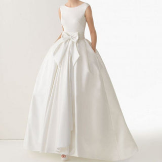 Beach Wedding Dress w/Pocket Bow Ivory