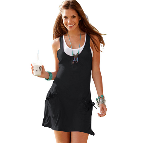 Black Two Piece Sleeveless Summer Dress