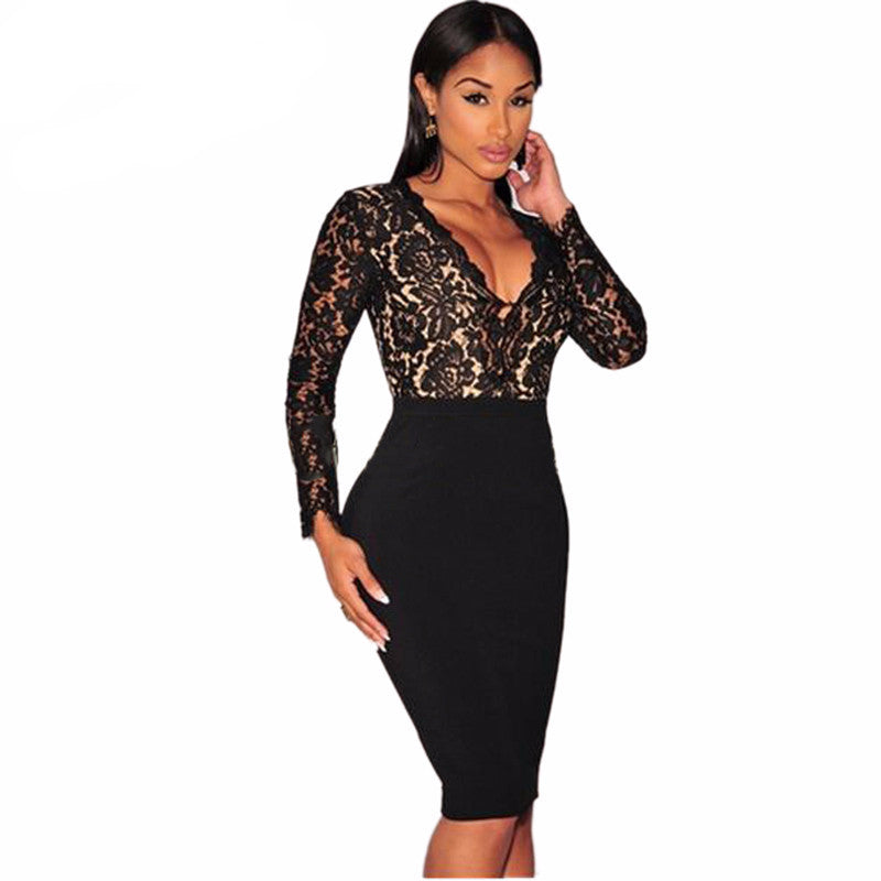 Crochet Black Floral Lace Deep V Neck Bodycon Dress
