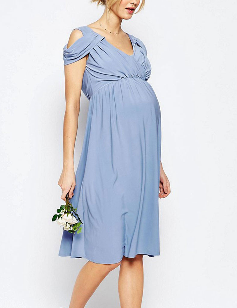 Blue Champagne Maternity Bridesmaid Dress