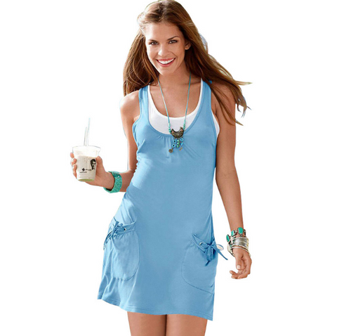Light BlueTwo Piece Sleeveless Summer Dress