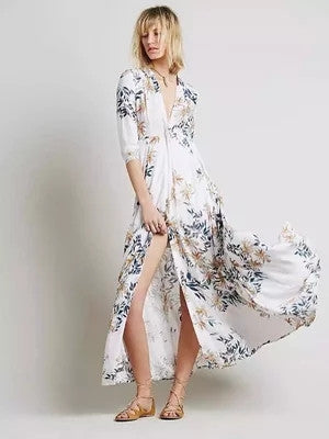 Elegant Silk Print Holiday Dress