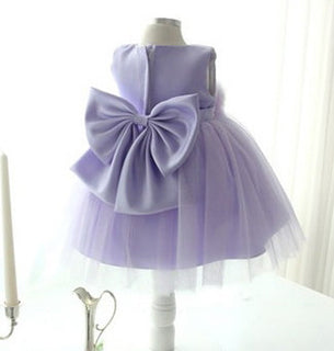 Bow Flower Girl Dress Purple
