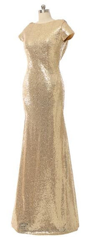 Long Bridesmaid Dress w/ Sequined
