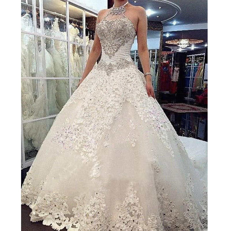 Crystal Luxury Wedding Dress w/ Cathedral Train
