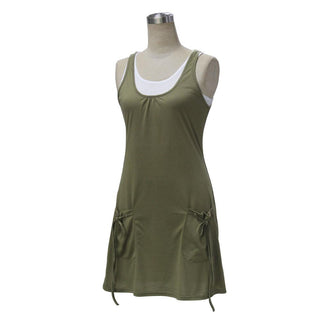 Army Green Two Piece Sleeveless Summer Dress