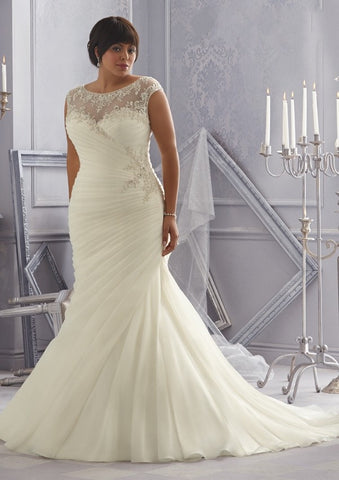 Wedding Dress w/ Scoop Crystal Beaded Embroidery