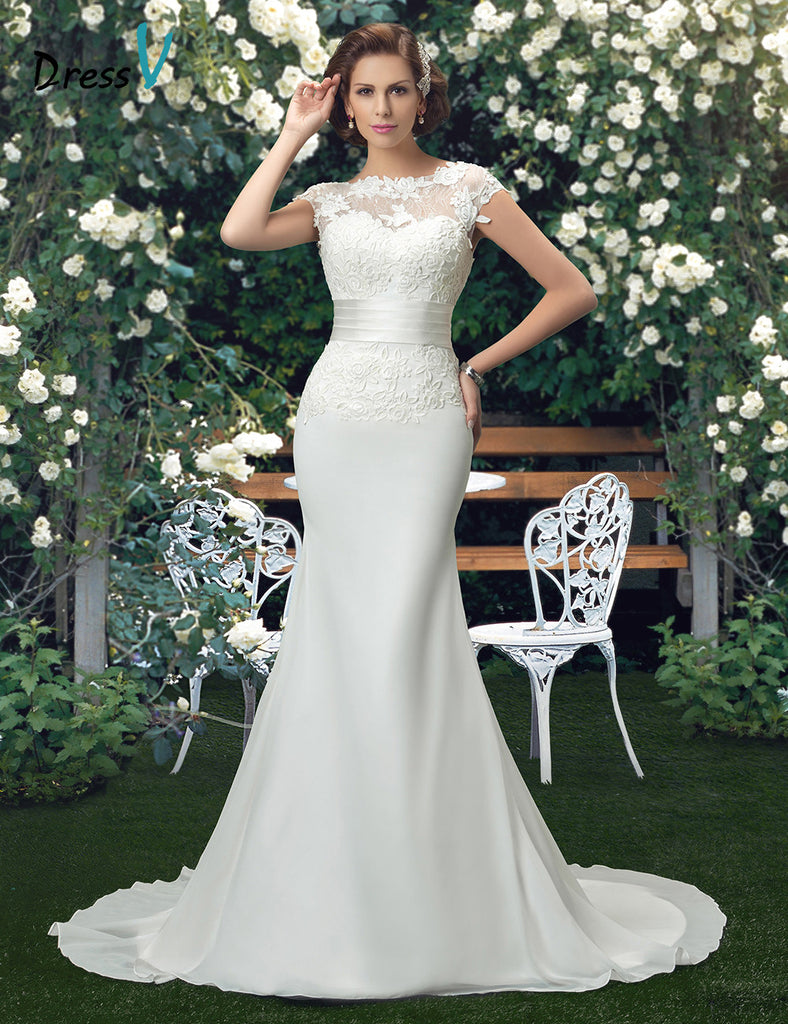 Charming Scoop Lace Wedding Dress