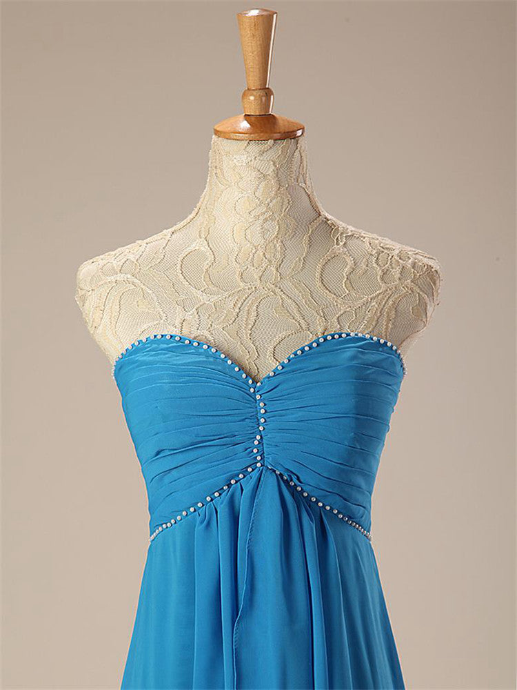 Elegant Blue Hi-Lo Bridesmaid Dress